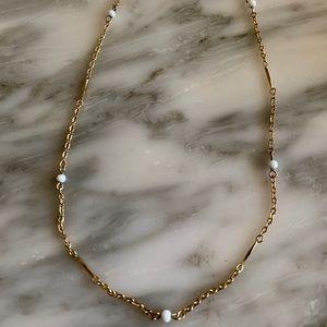 Jewelry - Gold filled white glass bead gold necklace